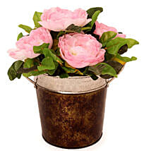Pink Roses In A Metal Basket: Send Artificial Flowers for House Warming
