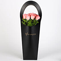 Pink Roses in Stylish Black Sleeve: Anniversary Flowers