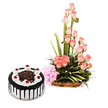 Pink Roses N Chocolate Treat: Valentines Day Flowers & Cakes