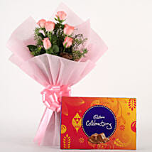 Pink Roses N Chocolates: Anniversary Flowers for Her
