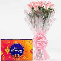 Pink Roses With Cadbury Celebrations: Womens Day Flowers & Chocolates