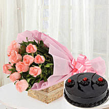 Pink Roses with Cake: Send Valentine Flowers to Vadodara