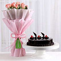 Pink Roses with Cake: Mothers Day Gifts Varanasi