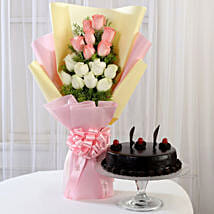 Pink & White Roses & Truffle Cake: Birthday Gifts for Sister