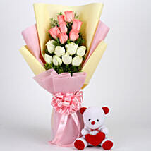 Pink & White Roses with Teddy Bear Combo: Flowers & Teddy Bears for Birthday