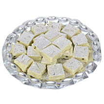 Pista Burfi In Silver Tray: Sweets to Chennai