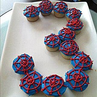 Platter of Spiderman Cupcakes: