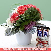 Posy Of Carnations & Roses With Chocolates: 1250-chocolates-vd