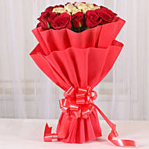 Premium Rocher Bouquet: Send New Year Flowers & Chocolates