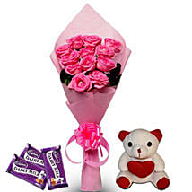 Pretty Pink hamper: Send Flowers & Teddy Bears for Friendship Day