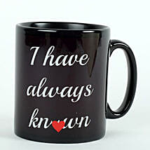 Printed Ceramic Black Mug: Send Valentines Day Gifts to Kota