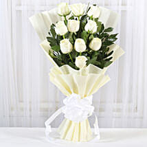 Pristine White Roses Bunch: Flowers delivery in Vapi
