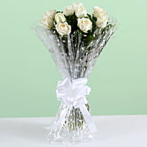 Pure Elegance-10 White Roses Bunch:
