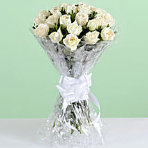 Pure Elegance-24 White Roses Bunch: Condolence