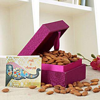 Purple Box Of Almonds: Send Bhai Dooj Gifts to Mangalore