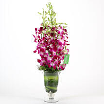 Purple Orchids Vase Arrangement: Send Anniversary Flowers to Noida