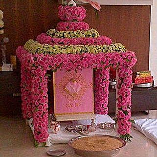 Radiant Ganpati Temple Decoration: Flowers for Janmashtami