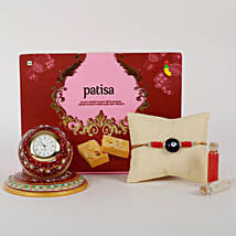 Rakhi And Marble Clock Combo: Rakhi With Sweets Paradeep