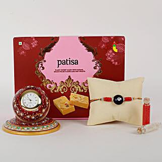 Rakhi And Marble Clock Combo: Rakhi With Sweets Calicut