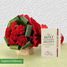 Rakhi And Red Carnations Combo: Send Rakhi with Flowers