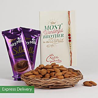 Rakhi Choco And Almonds: Send Rakhi to Lucknow