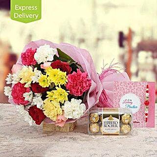 Rakhi Chocolicious Love: Send Rakhi with Flowers