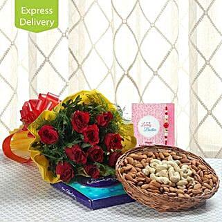 Rakhi Combo Of Cheerfulness: Send Rakhi with Flowers