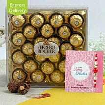Rakhi Ferrero Combo: Rakhi Gifts to Gurgaon