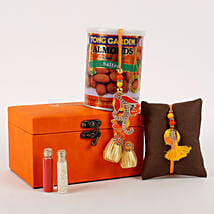 Rakhi Special Box Orange: Rakhi with Dryfruits