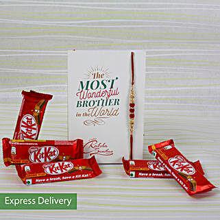 Rakhi With 5 Kit Kat Chocolates: Raksha Bandhan Chocolates
