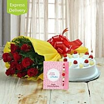 Rakhi With Floral Delight: Send Rakhi with Flowers