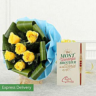 Rakhi With Yellow Roses Bouquet: Send Rakhi to Kolkata