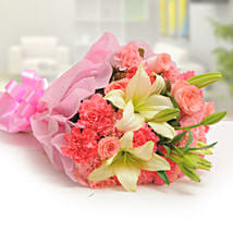 Ravishing Mixed Flowers Bouquet: Roses for Anniversary