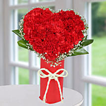 Red Carnation Heart Arrangement: Heart Shaped Gifts for Valentine