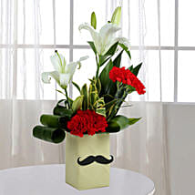 Red Carnation N Leaves Arrangement: Birthday Gifts for Father