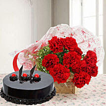 Red Carnations And Truffle Cake: Flower Delivery in Dindigul