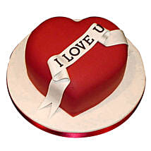 Red Heart love you Valentine cake: Valentine Gifts Kolkata