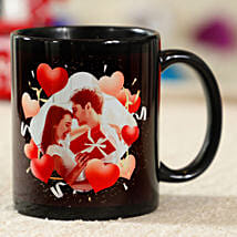 Red Hearts Personalised Black Mug: Valentines Day Gifts for Husband