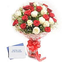 Red N White Roses: Send Flowers & Cards to Ahmedabad