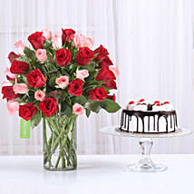 Red & Pink Roses With Black Forest Cake: Flowers & Cakes for Him