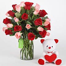 Red & Pink Roses With Teddy Bear: Flower N Teddy