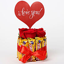 Red Roses in Glass Vase & 5 Star Love Arrangement: Send Chocolate Bouquet