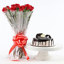Red Roses And Chocolate Cake Combo: Send Flowers to Mathura