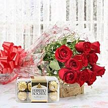 Red Roses And Rocher Combo: Flowers & Chocolates for Karwa Chauth