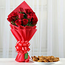 Red Roses Bouquet & 1 Kg Gujia Combo: Flowers & Sweets for Holi
