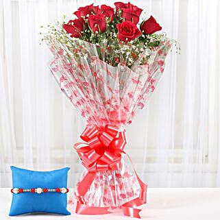 Red Roses Bouquet & Meenakari Rakhi: Flower Delivery in S Bhagat Singh Nagar