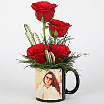 Red Roses in Personalised Black Mug: Flowers for Birthday