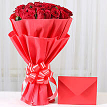 Red Roses N Greeting card: Send Valentine Flowers to Faizabad