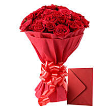 Red Roses N Greeting card: Send Anniversary Flowers for Her