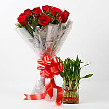 Red Roses & Two Layer Lucky Bamboo Combo: Flowers to Rudrapur